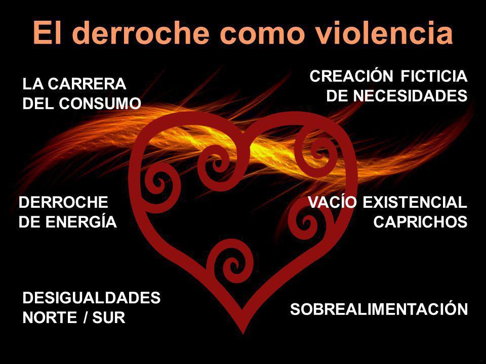 El derroche como violencia LA CARRERA DEL CONSUMO CREACIÓN FICTICIA DE NECESIDADES DERROCHE DE ENERGÍA SOBREALIMENTACIÓN DESIGUALDADES NORTE / SUR VAC