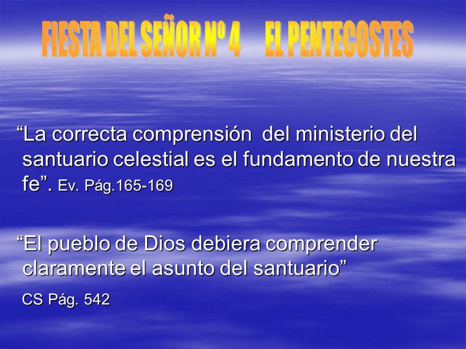 La correcta comprensión del ministerio del santuario celestial es el fundamento de nuestra fe. Ev. Pág.165-169 La correcta comprensión del ministerio