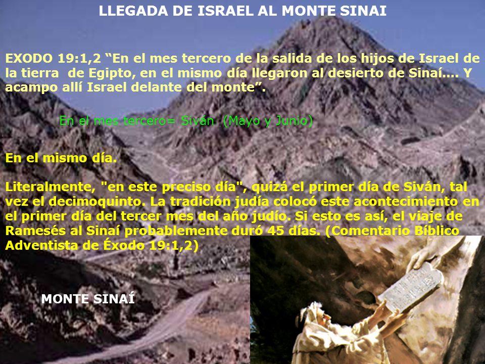 MONTE SINAÍ LLEGADA DE ISRAEL AL MONTE SINAI EXODO 19:1,2 En el mes tercero de la salida de los hijos de Israel de la tierra de Egipto, en el mismo dí