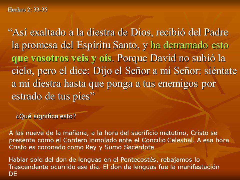 Hechos 2: 33-35 Hechos 2: 33-35 Así exaltado a la diestra de Dios, recibió del Padre la promesa del Espíritu Santo, y ha derramado esto que vosotros v