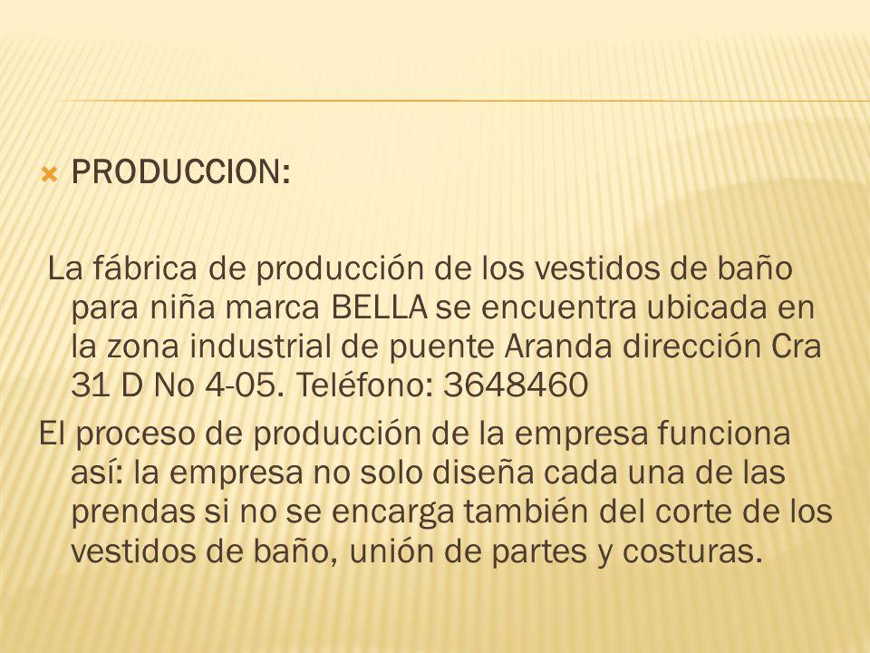 PRODUCCION: La fábrica de producción de los vestidos de baño para niña marca BELLA se encuentra ubicada en la zona industrial de puente Aranda dirección Cra 31 D No 4-05.
