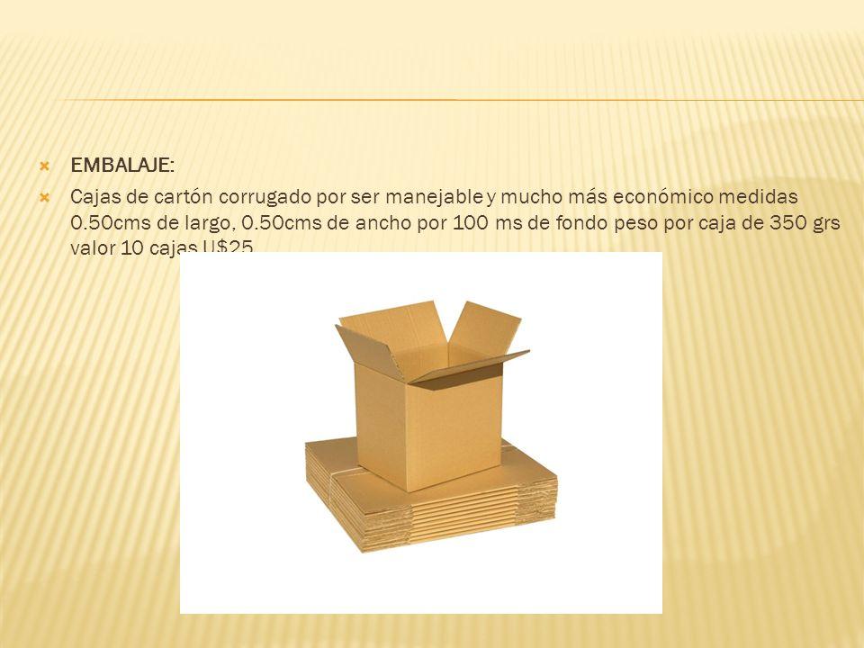 EMBALAJE: Cajas de cartón corrugado por ser manejable y mucho más económico medidas 0.50cms de largo, 0.50cms de ancho por 100 ms de fondo peso por ca