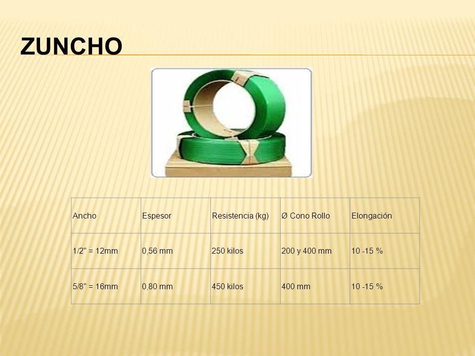 ZUNCHO AnchoEspesorResistencia (kg)Ø Cono RolloElongación 1/2 = 12mm0,56 mm250 kilos200 y 400 mm10 -15 % 5/8 = 16mm0,80 mm450 kilos400 mm10 -15 %