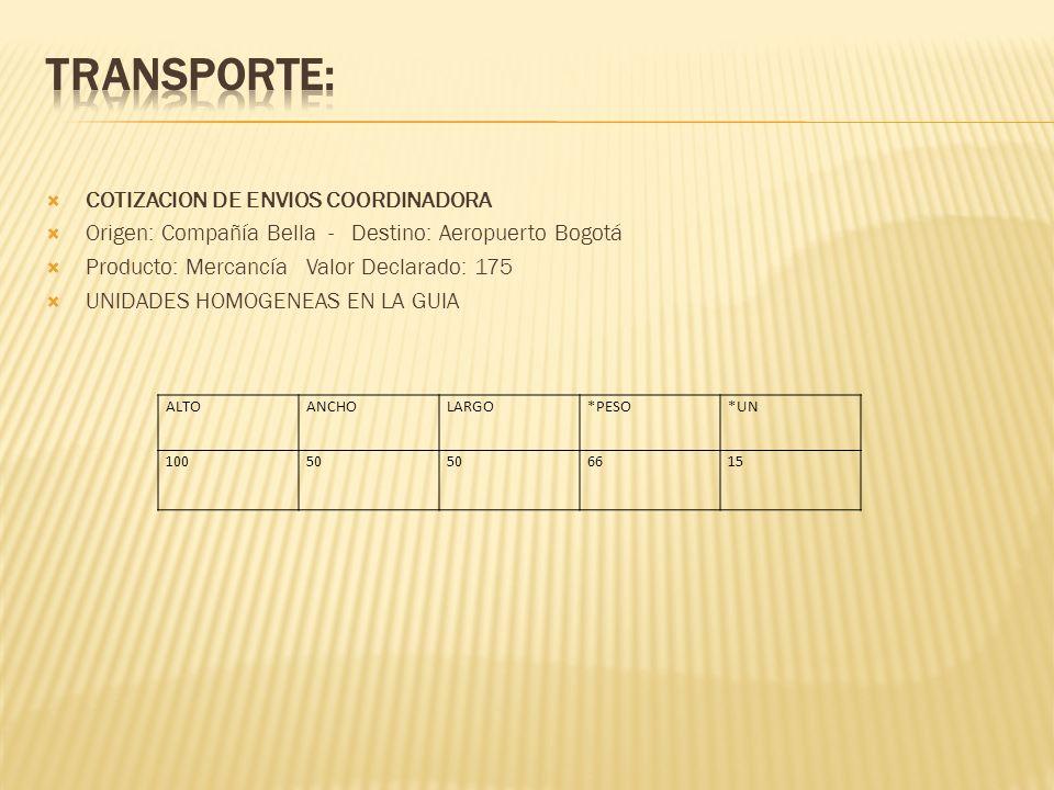COTIZACION DE ENVIOS COORDINADORA Origen: Compañía Bella - Destino: Aeropuerto Bogotá Producto: Mercancía Valor Declarado: 175 UNIDADES HOMOGENEAS EN LA GUIA ALTOANCHOLARGO*PESO*UN 10050 6615