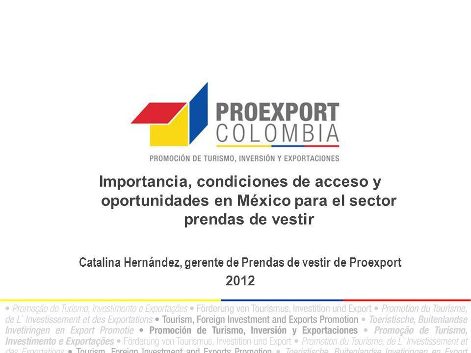 Importancia, condiciones de acceso y oportunidades en México para el sector prendas de vestir Catalina Hernández, gerente de Prendas de vestir de Proe