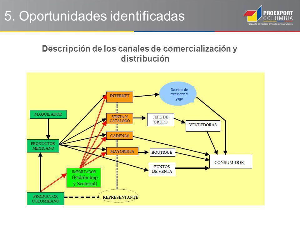 Descripción de los canales de comercialización y distribución 5. Oportunidades identificadas
