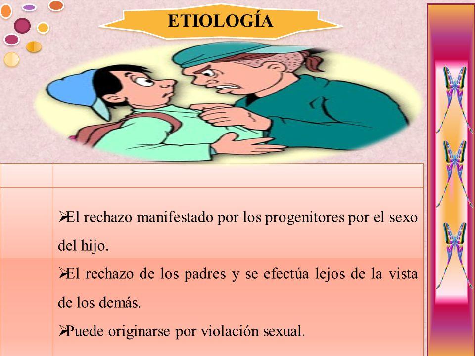 ETIOLOGÍA El rechazo manifestado por los progenitores por el sexo del hijo. El rechazo de los padres y se efectúa lejos de la vista de los demás. Pued