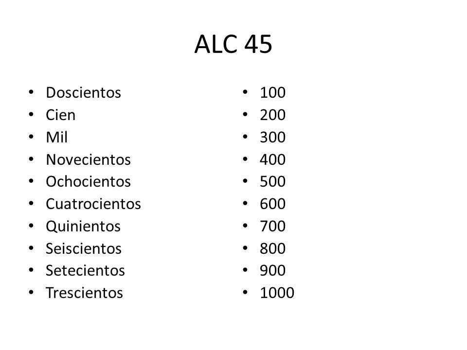 ALC 45 Doscientos Cien Mil Novecientos Ochocientos Cuatrocientos Quinientos Seiscientos Setecientos Trescientos 100 200 300 400 500 600 700 800 900 10