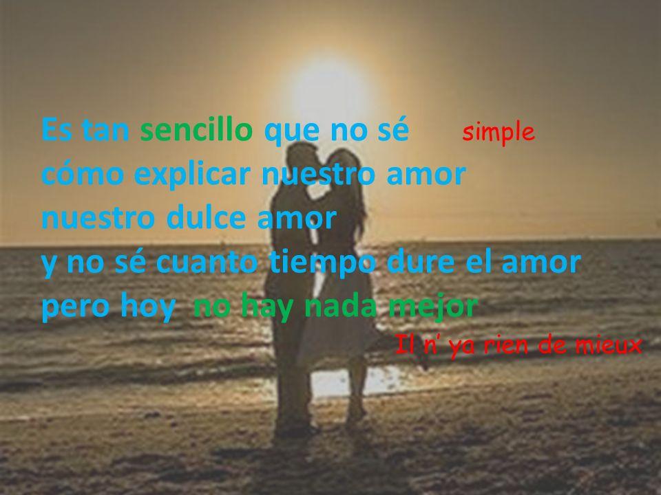 Es tan sencillo que no sé cómo explicar nuestro amor nuestro dulce amor y no sé cuanto tiempo dure el amor pero hoy no hay nada mejor simple Il n ya r