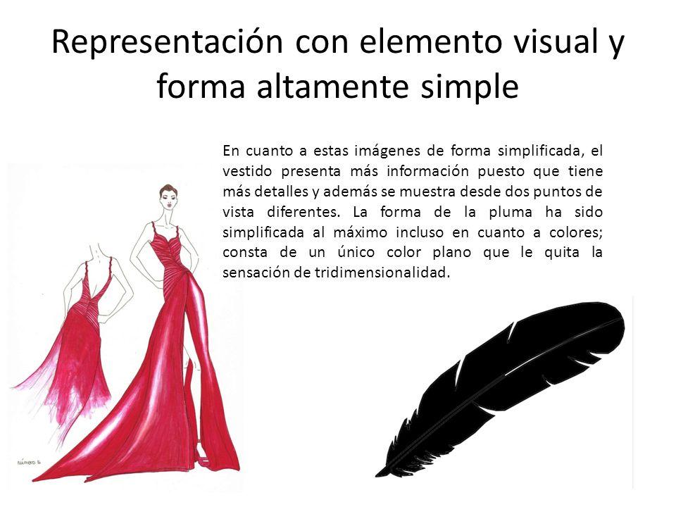 Representación con elemento visual y forma altamente simple En cuanto a estas imágenes de forma simplificada, el vestido presenta más información pues
