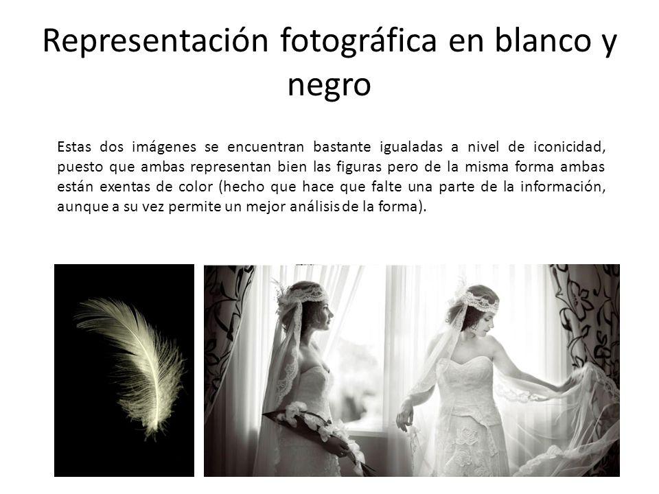 Representación fotográfica en blanco y negro Estas dos imágenes se encuentran bastante igualadas a nivel de iconicidad, puesto que ambas representan b