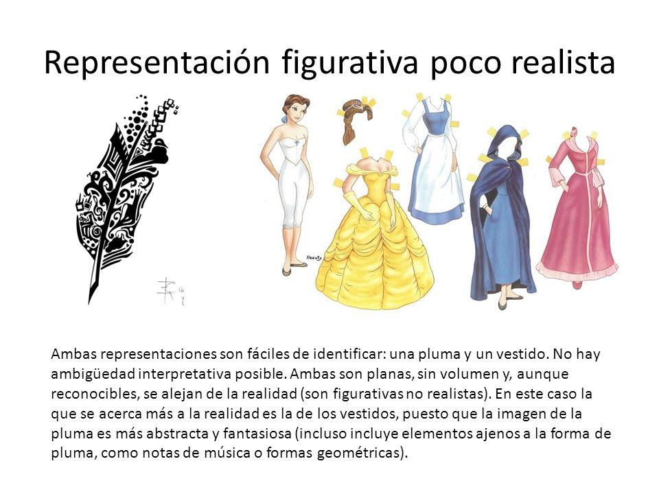 Representación figurativa poco realista Ambas representaciones son fáciles de identificar: una pluma y un vestido. No hay ambigüedad interpretativa po