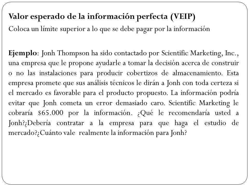 Valor esperado de la información perfecta (VEIP) Coloca un límite superior a lo que se debe pagar por la información Ejemplo: Jonh Thompson ha sido co