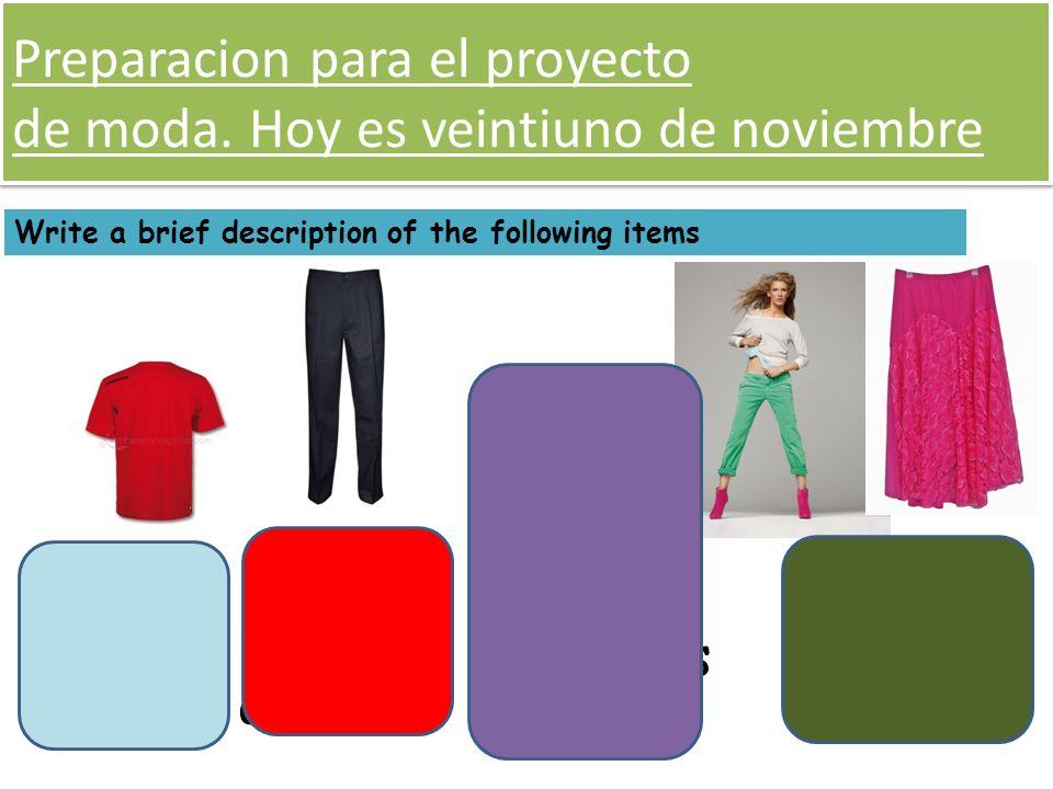 Preparacion para el proyecto de moda. Hoy es veintiuno de noviembre Write a brief description of the following items La camisa roja El jersei beige, e