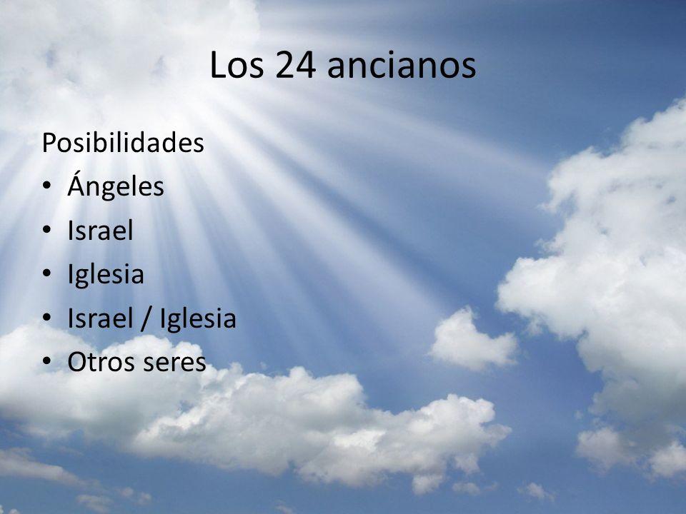 Los 24 ancianos Información Tiene tronos – reinan – Ángeles ministran (Heb 1:14), santos reinan Son ancianos - presbu,teroj – Nunca se refiere a ángeles Vestidos de ropa blanca - i`ma,tion – También ángeles la visten.