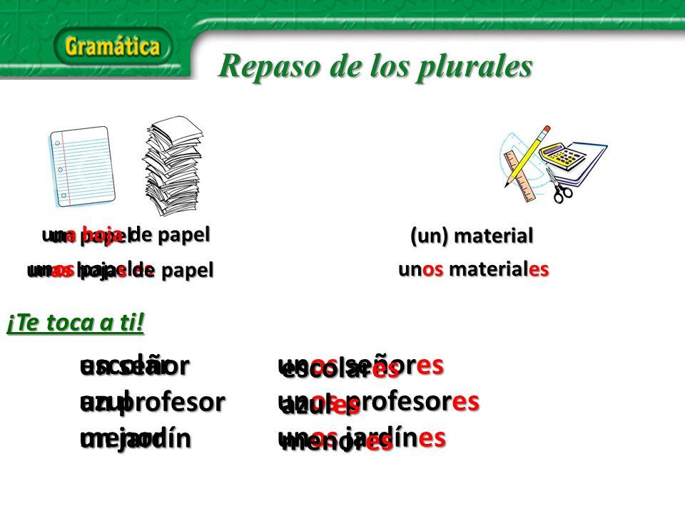 un bolígrafo un libro una carpeta una calculadora unos bolígrafos unos libros unas calculadoras unas carpetas Repaso de los plurales