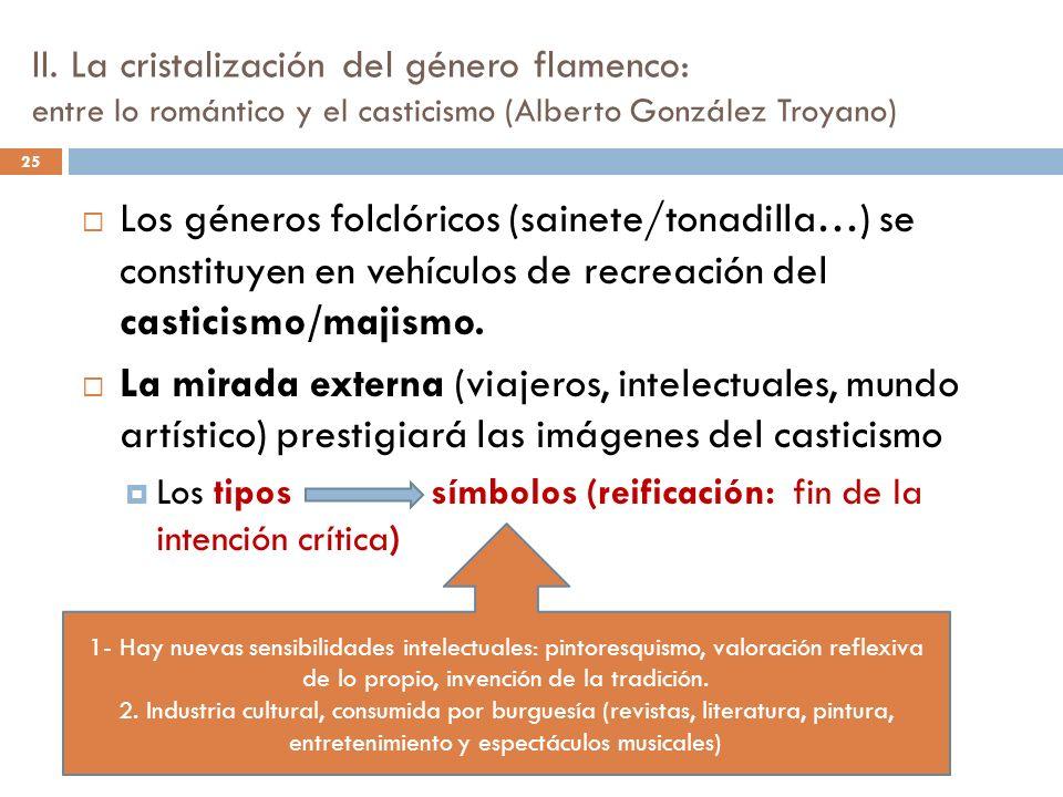 II. La cristalización del género flamenco: entre lo romántico y el casticismo (Alberto González Troyano) 25 Los géneros folclóricos (sainete/tonadilla