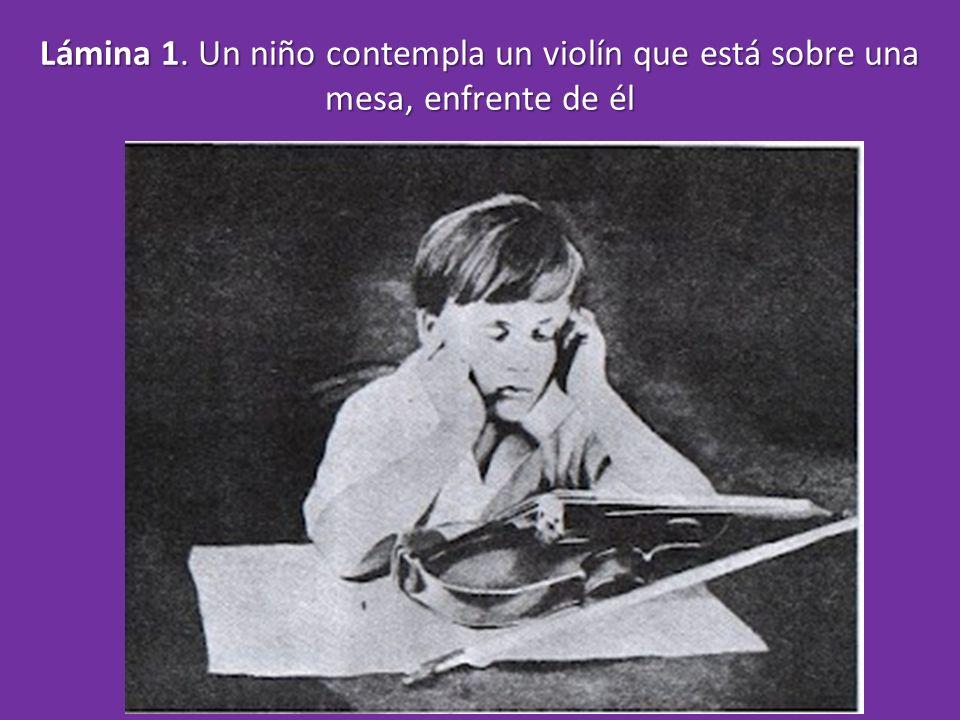 Lámina 1. Un niño contempla un violín que está sobre una mesa, enfrente de él