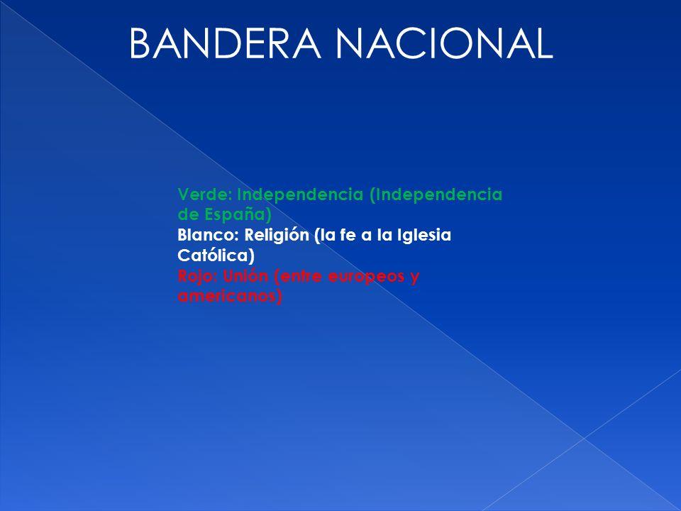 Verde: Independencia (Independencia de España) Blanco: Religión (la fe a la Iglesia Católica) Rojo: Unión (entre europeos y americanos) BANDERA NACION
