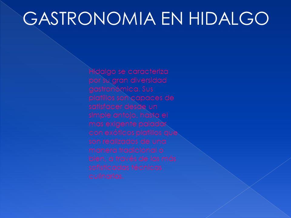 GASTRONOMIA EN HIDALGO Hidalgo se caracteriza por su gran diversidad gastronómica. Sus platillos son capaces de satisfacer desde un simple antojo, has