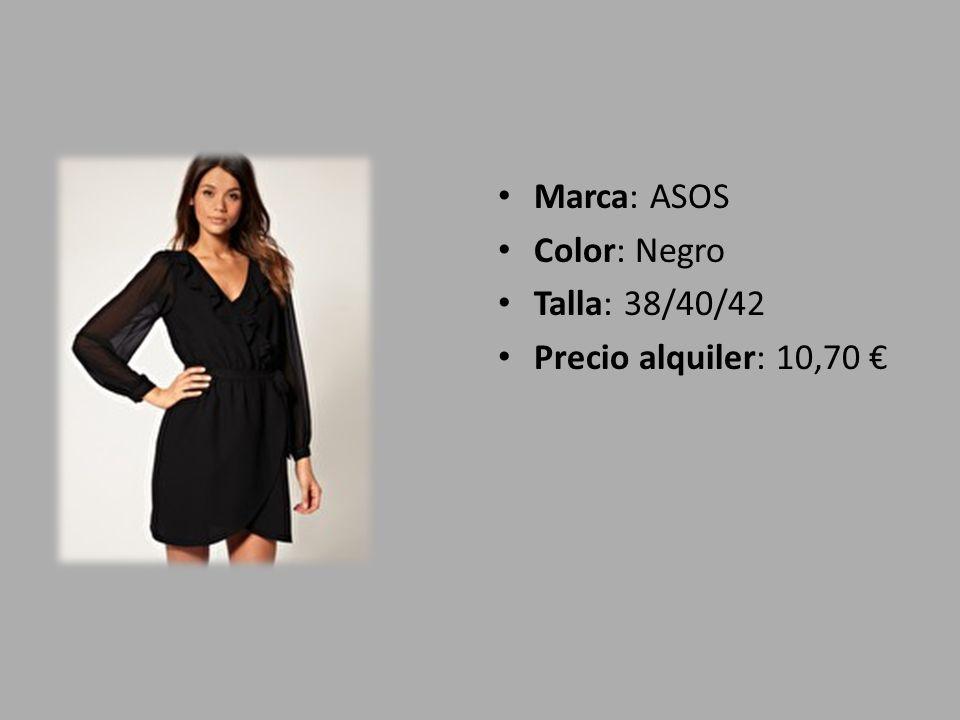 Marca: ASOS Color: Negro Talla: 38/40/42 Precio alquiler: 10,70