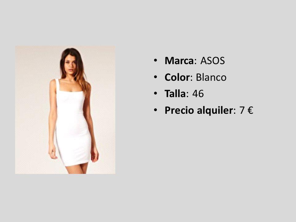Marca: ASOS Color: Blanco Talla: 46 Precio alquiler: 7