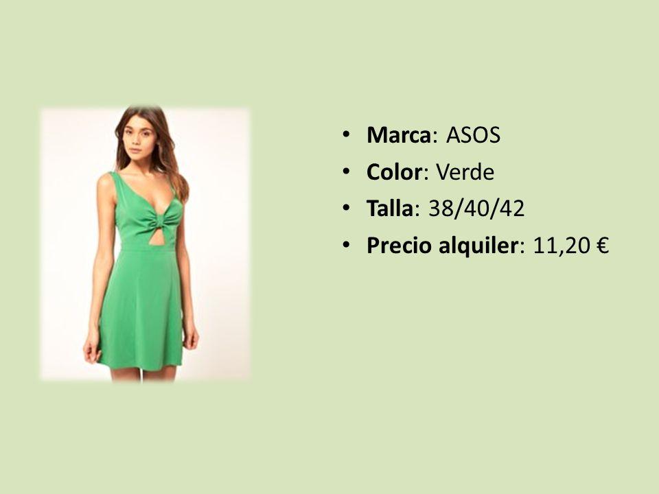 Marca: ASOS Color: Verde Talla: 38/40/42 Precio alquiler: 11,20