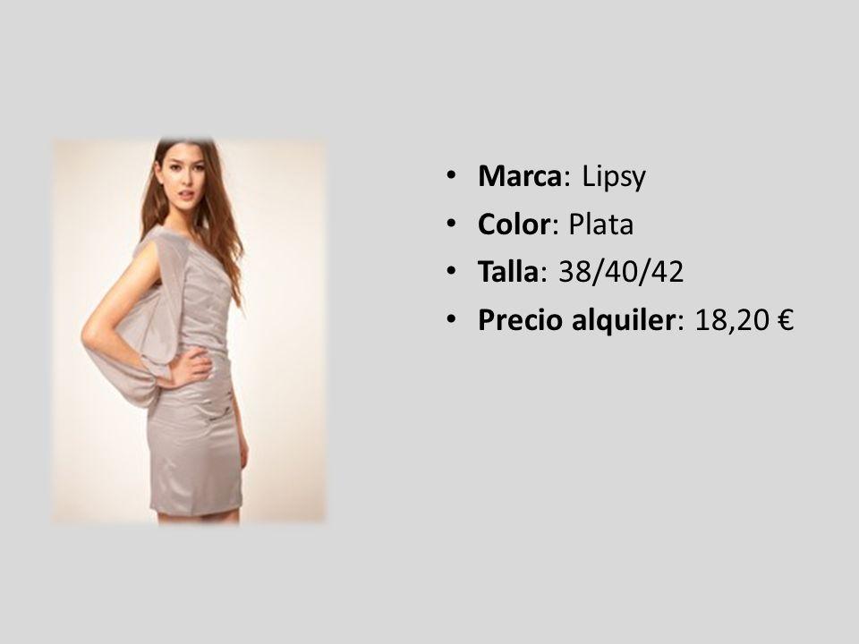 Marca: Lipsy Color: Plata Talla: 38/40/42 Precio alquiler: 18,20