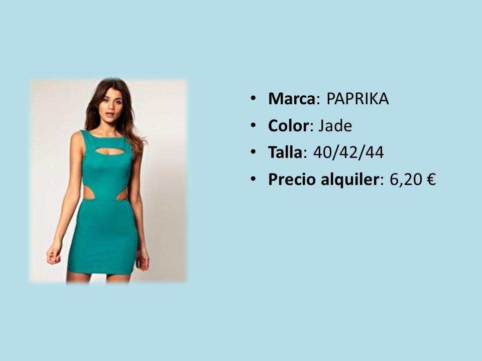 Marca: PAPRIKA Color: Jade Talla: 40/42/44 Precio alquiler: 6,20
