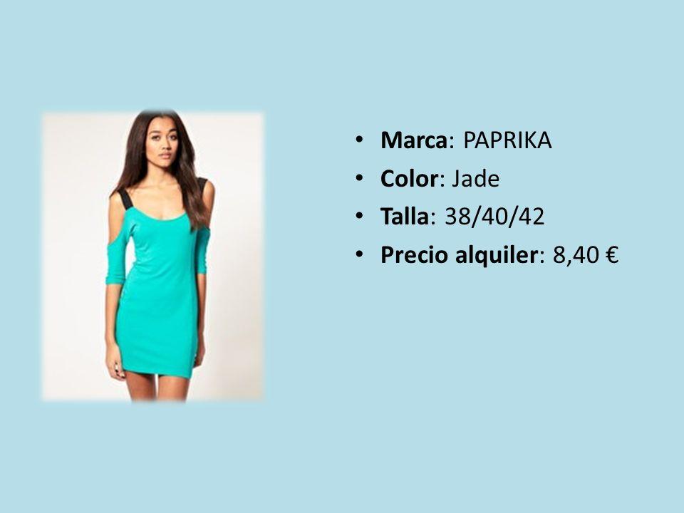 Marca: PAPRIKA Color: Jade Talla: 38/40/42 Precio alquiler: 8,40