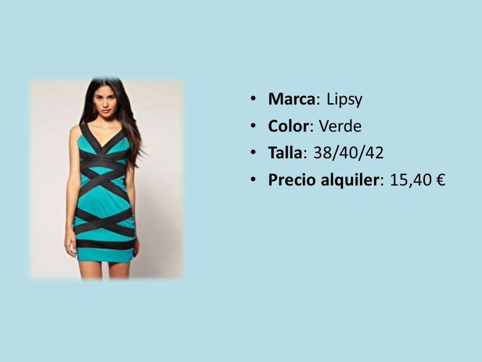 Marca: Lipsy Color: Verde Talla: 38/40/42 Precio alquiler: 15,40