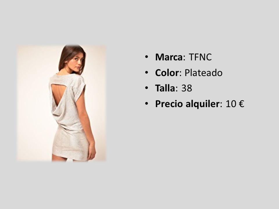 Marca: TFNC Color: Plateado Talla: 38 Precio alquiler: 10