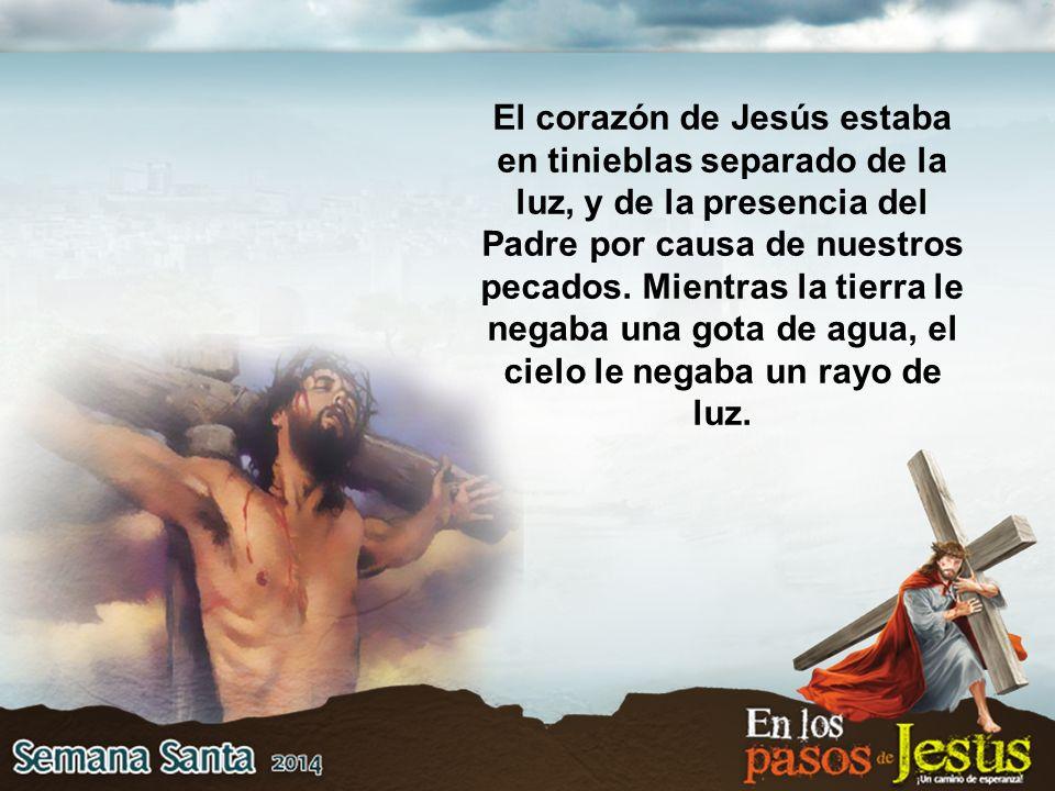 El corazón de Jesús estaba en tinieblas separado de la luz, y de la presencia del Padre por causa de nuestros pecados.