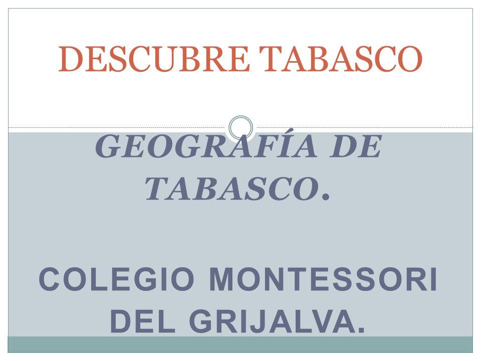 GEOGRAFÍA DE TABASCO. COLEGIO MONTESSORI DEL GRIJALVA. DESCUBRE TABASCO