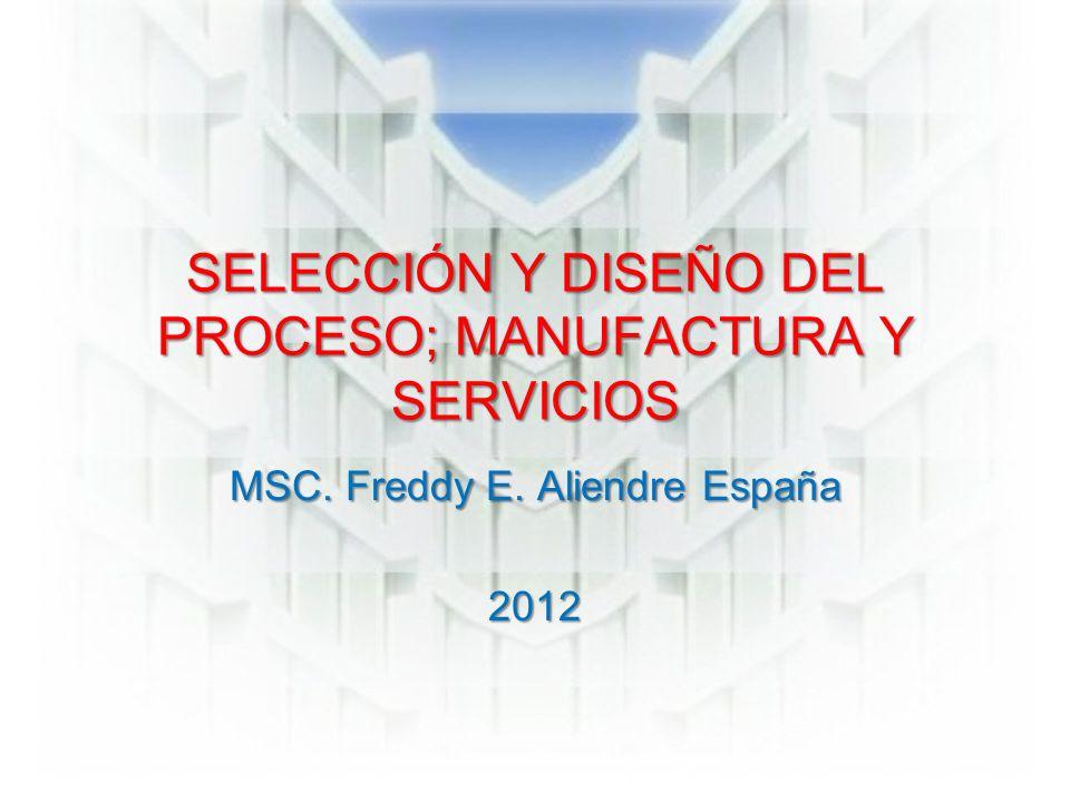 SELECCIÓN Y DISEÑO DEL PROCESO; MANUFACTURA Y SERVICIOS MSC. Freddy E. Aliendre España 2012