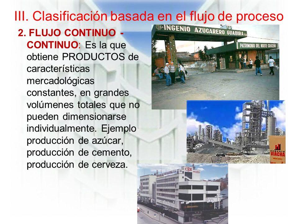 III.Clasificación basada en el flujo de proceso 2.