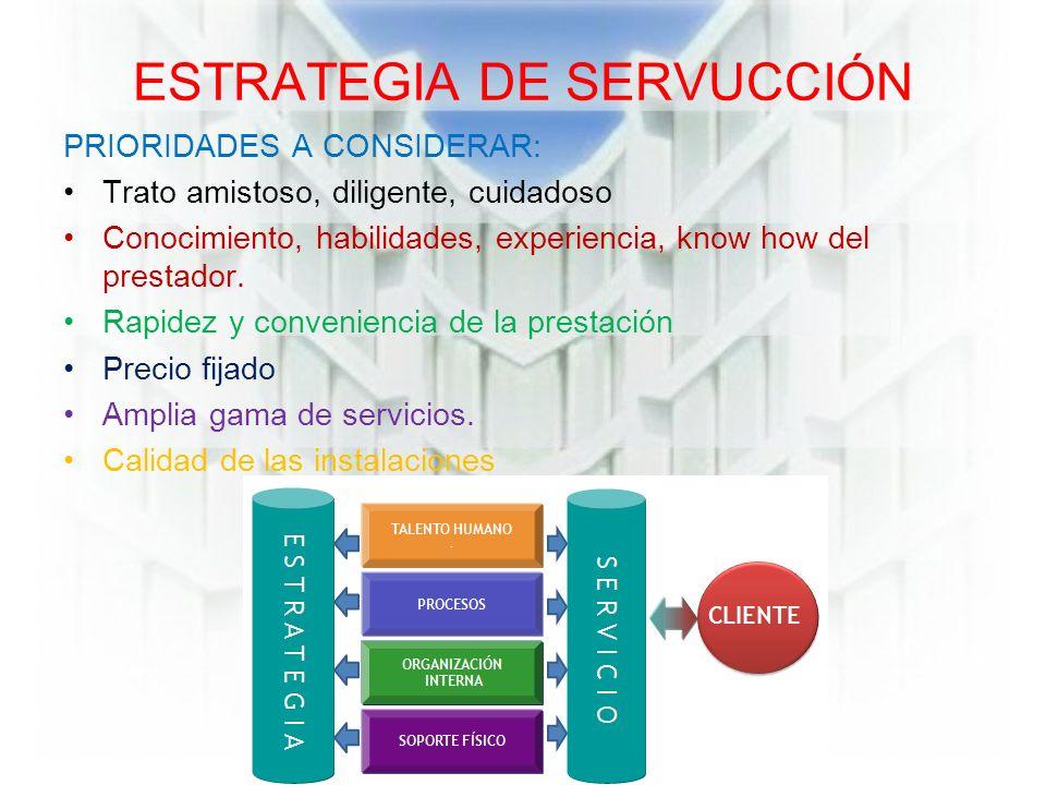 ESTRATEGIA DE SERVUCCIÓN PRIORIDADES A CONSIDERAR: Trato amistoso, diligente, cuidadoso Conocimiento, habilidades, experiencia, know how del prestador.