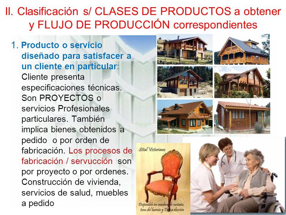 II.Clasificación s/ CLASES DE PRODUCTOS a obtener y FLUJO DE PRODUCCIÓN correspondientes 1.
