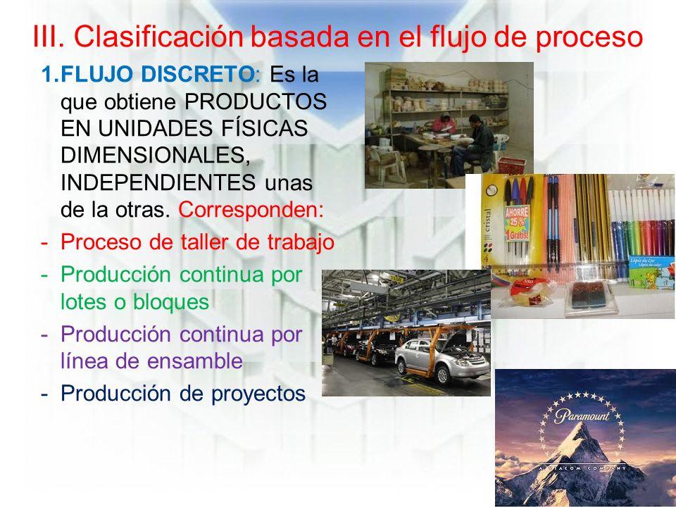 III. Clasificación basada en el flujo de proceso 1.FLUJO DISCRETO: Es la que obtiene PRODUCTOS EN UNIDADES FÍSICAS DIMENSIONALES, INDEPENDIENTES unas