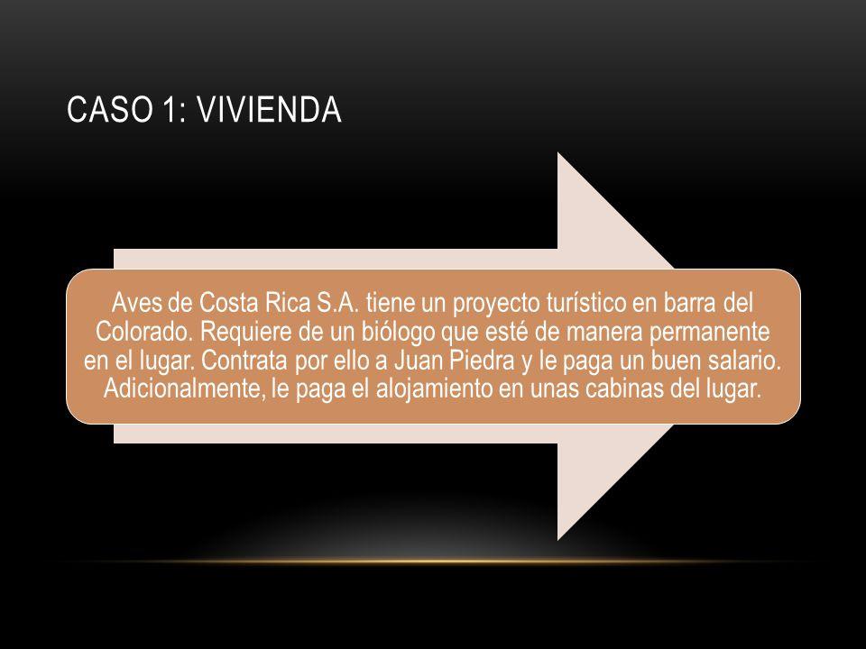 CASO 1: VIVIENDA Aves de Costa Rica S.A. tiene un proyecto turístico en barra del Colorado.