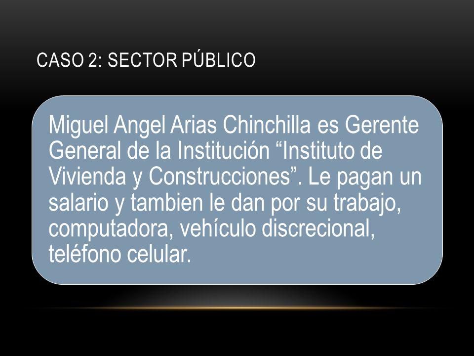 CASO 2: SECTOR PÚBLICO Miguel Angel Arias Chinchilla es Gerente General de la Institución Instituto de Vivienda y Construcciones.