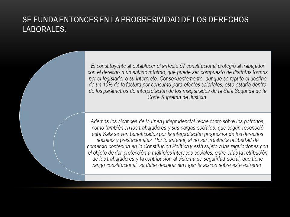 SE FUNDA ENTONCES EN LA PROGRESIVIDAD DE LOS DERECHOS LABORALES: El constituyente al establecer el artículo 57 constitucional protegió al trabajador con el derecho a un salario mínimo, que puede ser compuesto de distintas formas por el legislador o su intérprete.