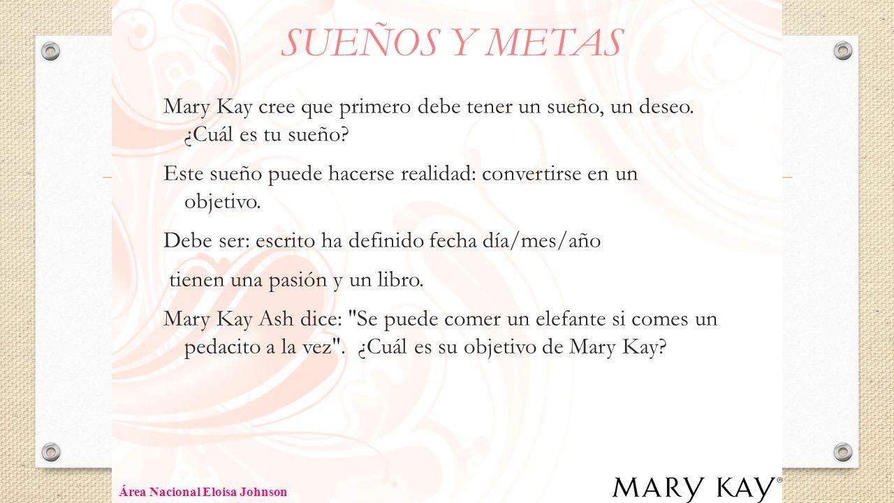 SUEÑOS Y METAS Mary Kay cree que primero debe tener un sueño, un deseo. ¿Cuál es tu sueño? Este sueño puede hacerse realidad: convertirse en un objeti