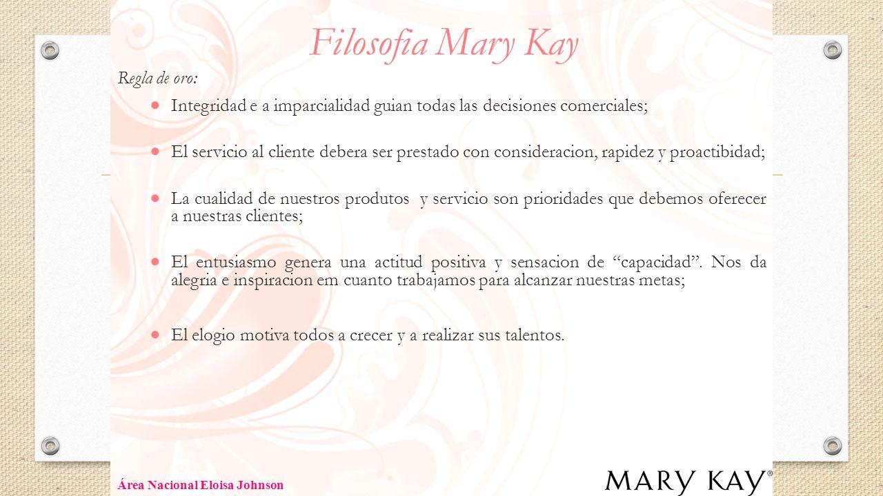 Filosofia Mary Kay Regla de oro: Integridad e a imparcialidad guian todas las decisiones comerciales; El servicio al cliente debera ser prestado con c