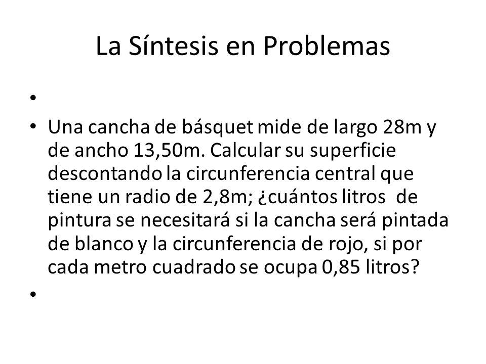 La Síntesis en Problemas Una cancha de básquet mide de largo 28m y de ancho 13,50m.