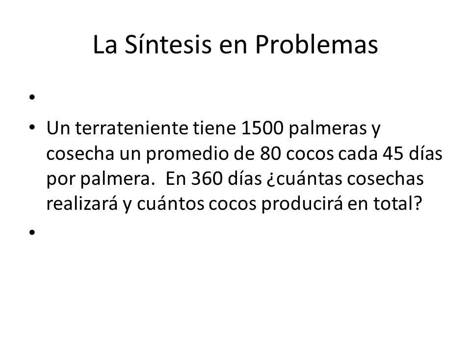 La Síntesis en Problemas Un terrateniente tiene 1500 palmeras y cosecha un promedio de 80 cocos cada 45 días por palmera.
