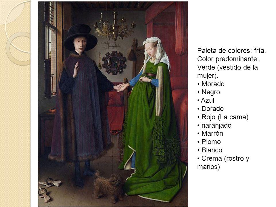 Paleta de colores: fría. Color predominante: Verde (vestido de la mujer). Morado Negro Azul Dorado Rojo (La cama) naranjado Marrón Plomo Blanco Crema