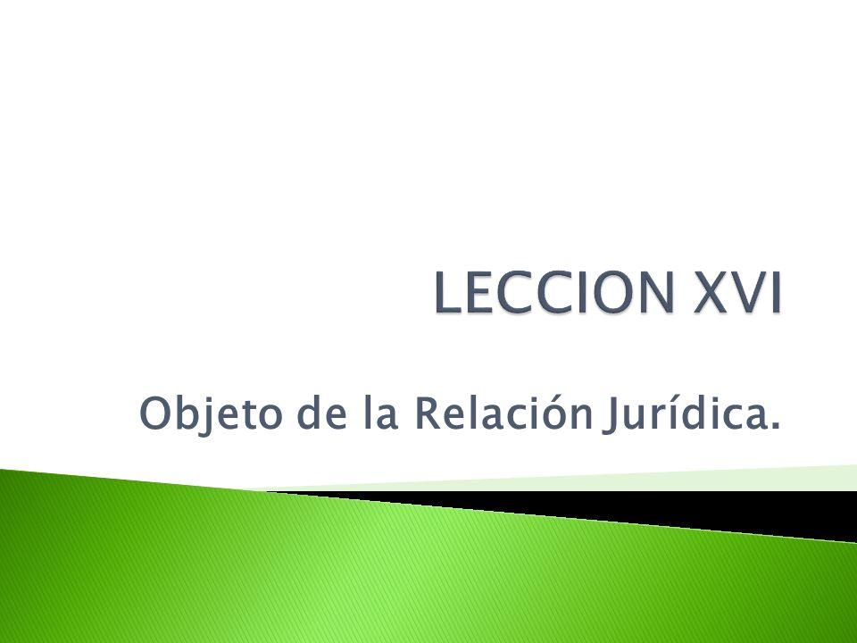 Objeto de la Relación Jurídica.
