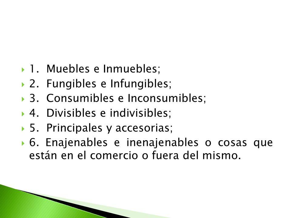 1. Muebles e Inmuebles; 2. Fungibles e Infungibles; 3. Consumibles e Inconsumibles; 4. Divisibles e indivisibles; 5. Principales y accesorias; 6. Enaj