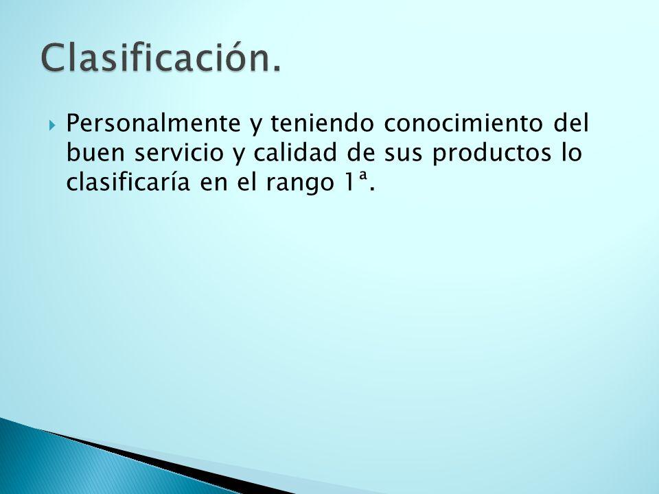 Personalmente y teniendo conocimiento del buen servicio y calidad de sus productos lo clasificaría en el rango 1ª.